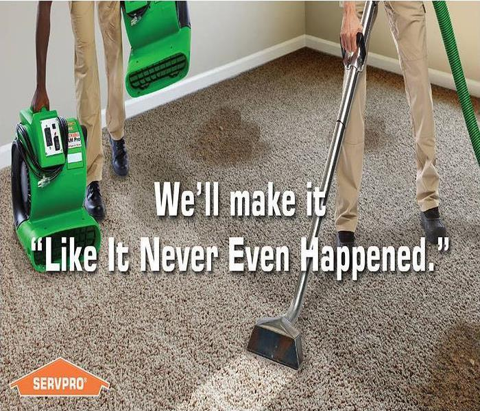 Two men steam cleaning a dirty carpet with the tagline, We